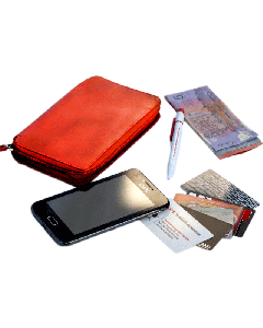 Zip-around Leather Clutch Wallets for Women with Phone Holder