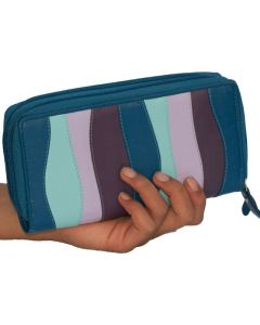 Womens Wallet Double Zip Around Leather Wallet Clutch Purse Multi-coloured