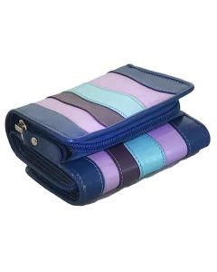 Palm size Women's Mini Trifold Leather Wallets, with outside coin pocket in Multicolour Leather