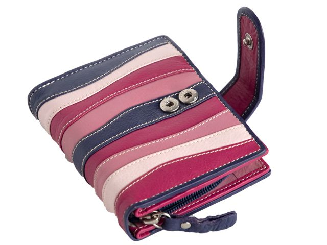 LADIES TOP QUALITY PURSE WALLET CARD COINS ID SLOTS NOTES ZIPPED WINDOW RED//TAN