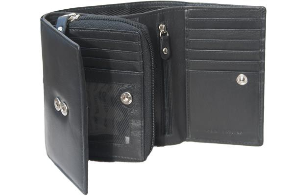 to buy new york top-rated original Mid size womens leather wallet 2 ID windows 3 Coin purse 15 Card slots