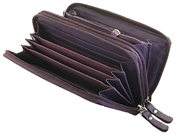 Womens Wallet Leather Double Zip-Around Clutch Purse 71e63608d9