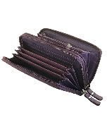 Womens Wallet Leather Double Zip-Around Clutch Purse 16 card slots