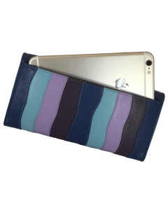 Women's wallets leather flat Clutch PURSE with 14 card slots in Multicolour Leather