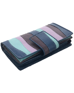 32 Card Slot Womens Wallet in Multicolour Leather Adjustable Clasp