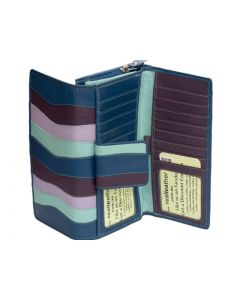 Long double sided real leather Womens wallet inside coin purse in Multicolour Leather