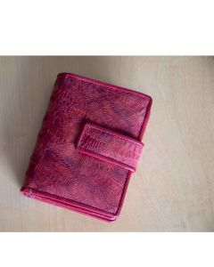 Womens Chicken Skin Leather Wallets, Compact size, Fourfold style, Dual ID, Zip around Coin Purse