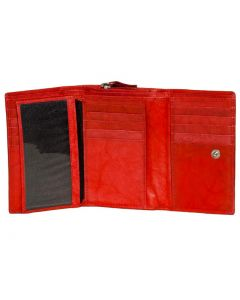Women's Trifold Medium Leather Wallet with Zip-around Coin Purse