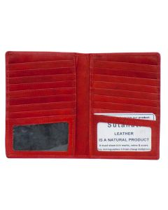 Leather bi-fold Card Holder fits 18 cards Dual ID Windows