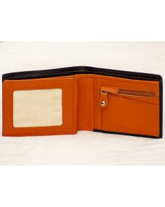 Mens Leather Wallet with zipper Coin Pocket & Zip bank note Compartment