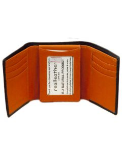 Mens Trifold wallet with 11 card slots Double ID WINDOW Real Leather