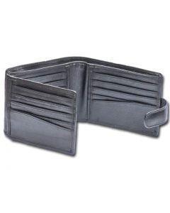 Mens Bi fold leather wallet with 20 Card slots, button clasp closure