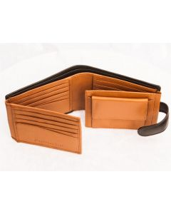 MENS fourfold 20 Card slots leather wallet with coin purse and press stud closure