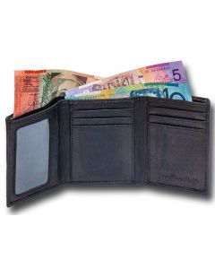 Real Leather Trifold Mens wallet, slim profile, hand-crafted and long-lasting