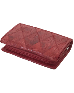 Women's Chicken Skin Leather Wallet, Trifold Medium size with Zip-around Coin Purse