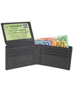 Men's Slim Compact Thin Narrow Leather Wallet | ID Window | 9 Card Slots | RFID Blocked | Handmade Leather Wallets for Men