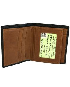 Mens Slim Wallet 8 Card Slots Middle Flap