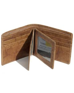 Mens Double bifold Genuine Leather Wallet 12 card slots with 2 id windows & ZIP notes sleeve