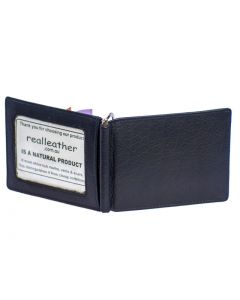 Leather Money Clip Wallet and Credit Card Holder with ID Window