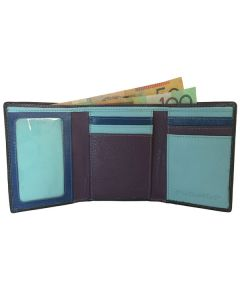 Men's Multicoloured Trifold Real Leather Wallet in Calf Leather